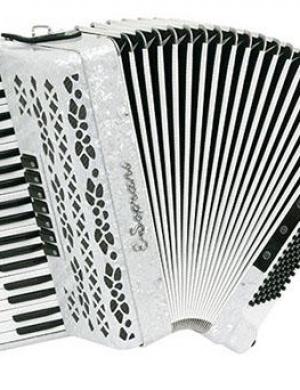 ELENA SOPRANI  Fisarmonica 120 Bassi  Bianco Perlato  41/3/5  Mod. 123 KK con custodia rigida